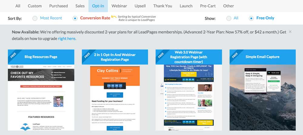 Optin page templates in Leadpages
