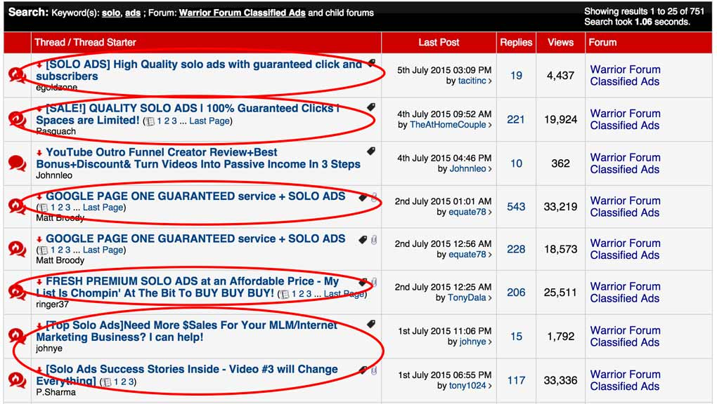 Solo Ads on the Warrior Forum