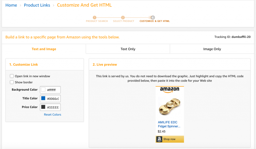Get links amazon affiliate product