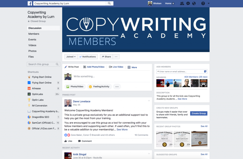 copywriting academy facebook group
