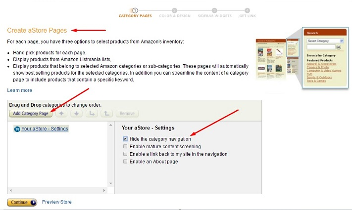 Create Amazon aStore Pages