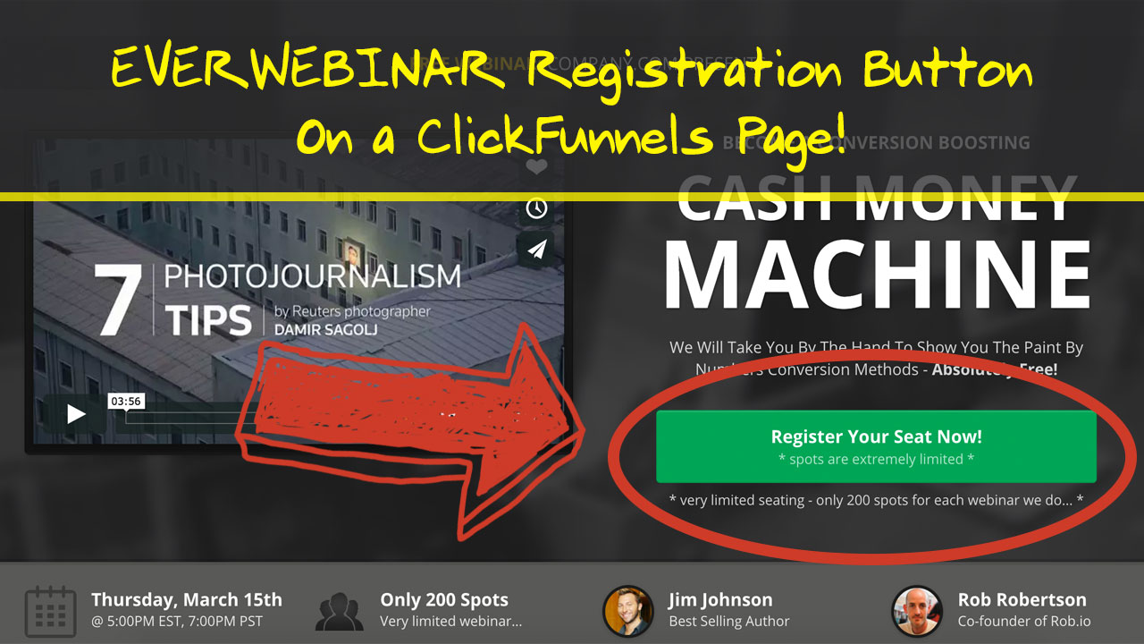 everwebinar button clickfunnels page