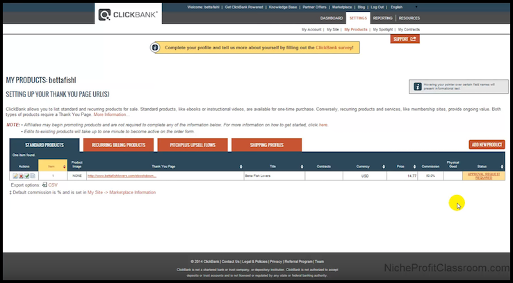ClickBank Product Approval Page Example