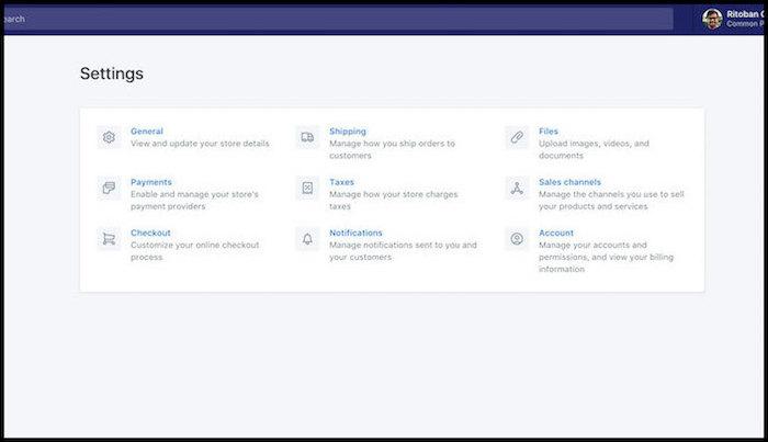 Shopify Settings Dashboard
