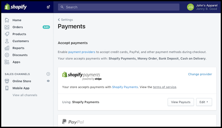 Shopify Payment settings