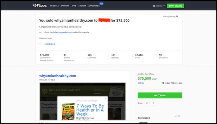 WhyAmIUnhealthy Website Auction Example Websites Make Money