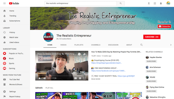The Realistic Entrepreneur Legit Shopify YouTuber