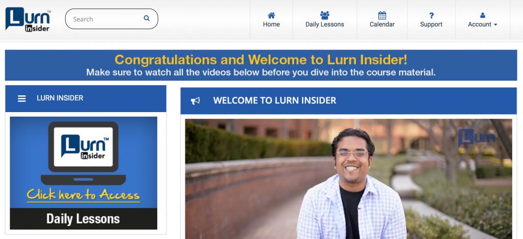 Lurn Insider Dashboard Page