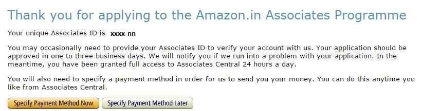Amazon Affiliate - Payment Method
