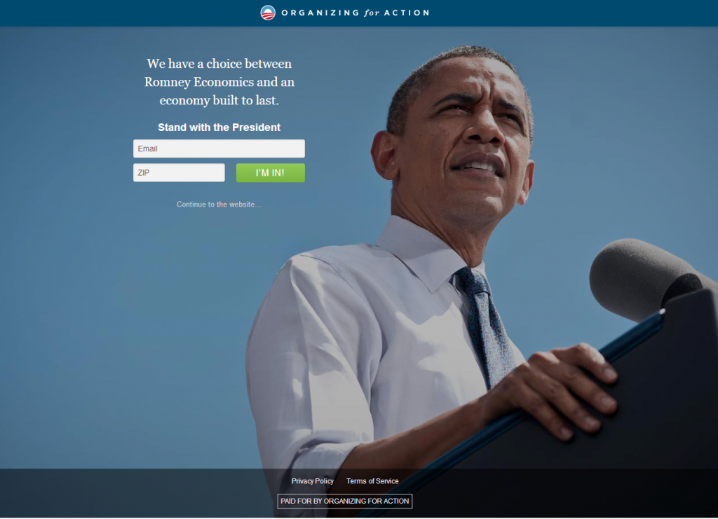 Squeeze Page Used by President Obama For His Campaigns