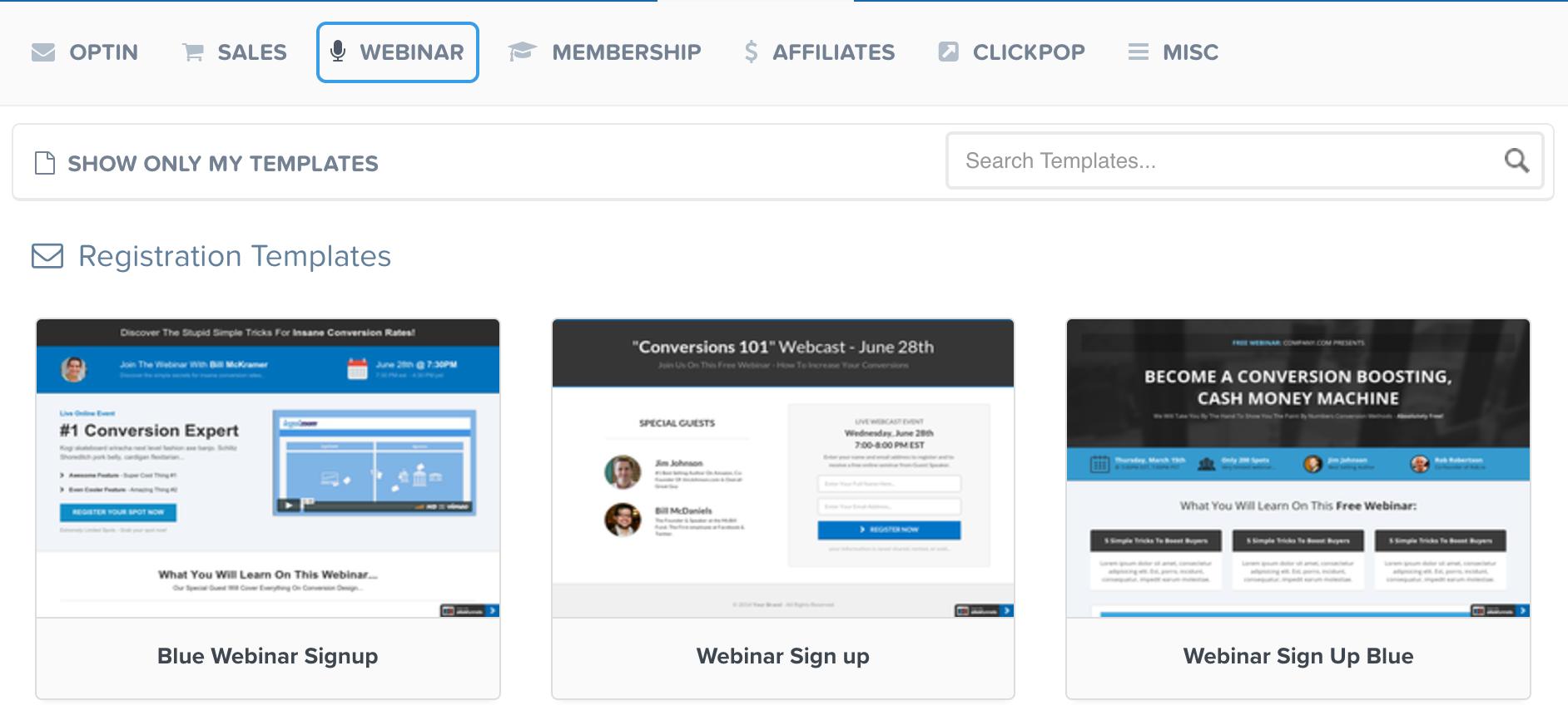 clickfunnels webinar templates