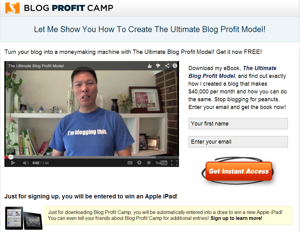Optimized Squeeze Page by Blog Profit Camp