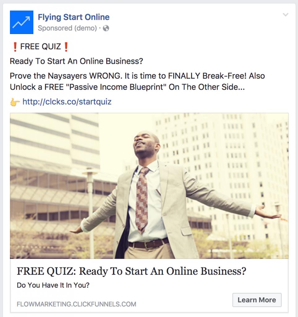 facebook retargeting ad for quiz