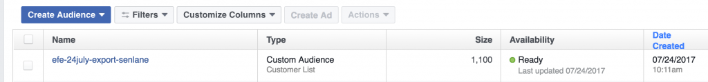 facebook imported audience