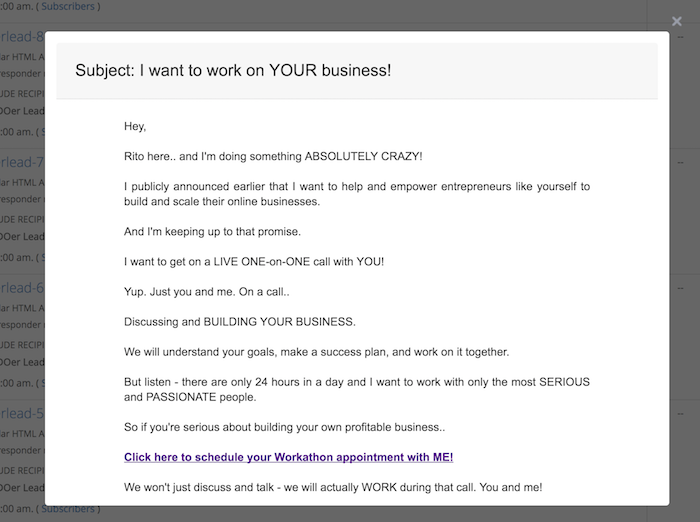 Rito Emails - I Want to Work On YOUR Business (Day 5)