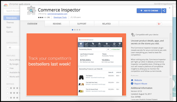 Commerce Inspector Chrome Extension