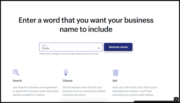 Shopify Store Name Generator