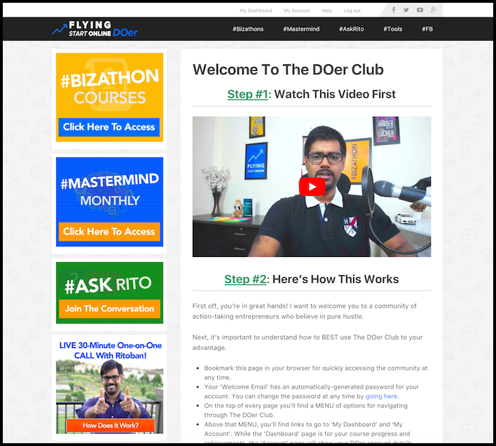 The DOer Club Dashboard is optimized for Online Success
