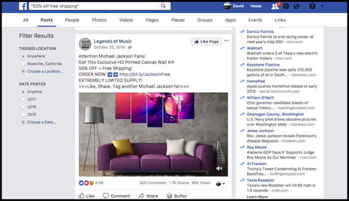 Facebook Search Winning Products