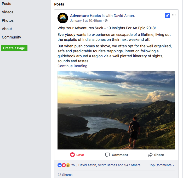 Active On Social Media Helps Squeeze Page Conversions AdventureHacks.com example