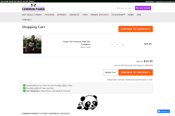 eCommerce Website, CommonPanda displaying proper branding across all pages.