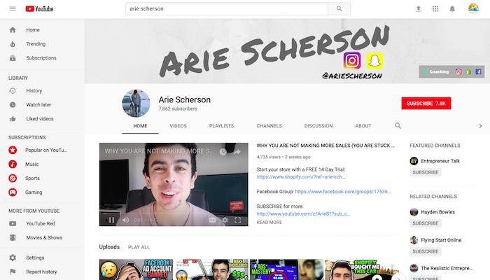 Arie Scherson Legit Shopify YouTuber