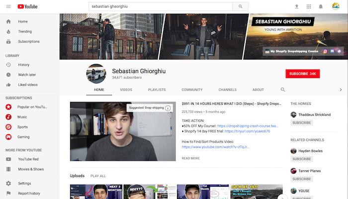 Sebastian Ghiorghiu Legit Shopify YouTuber