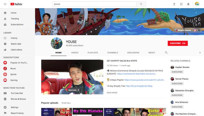 Youse Legit Shopify YouTuber