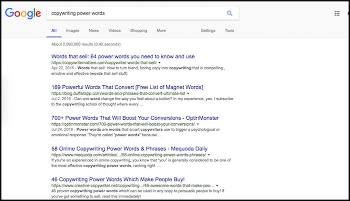 Copywriting Power Words
